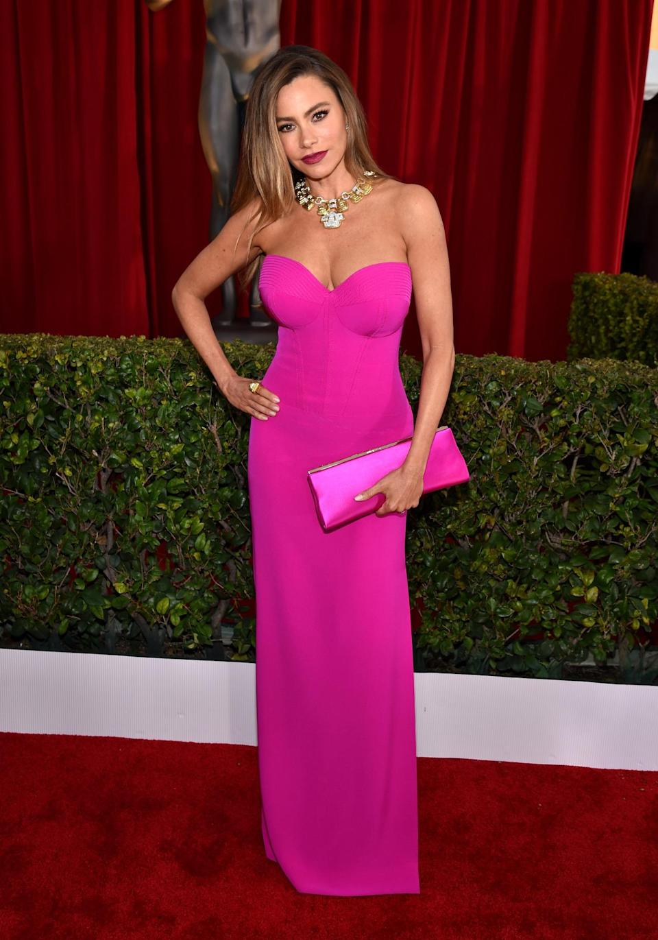 <p>Sofia Vergara dressed like a Barbie doll — which is very timely considering the addition tall, curvy, and petite toys to Mattel's lineup — to the SAG Awards. Wearing a strapless dress that hugged her envious figure, she matched her clutch to the brightly colored gown. The <i>Modern Family </i>star also wore a diamond necklace to add just a little more sparkle to her already sexy look. <i>Photo: Getty Images</i></p>