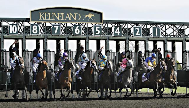 The field breaks from the gate at the start of the 33rd running of the Lexington Stakes horse race at Keeneland in Lexington, Ky., Saturday, April 19, 2014. Eventual winner Mr. Speaker, under jockey Jose Lezcano, is at right. (AP Photo/Garry Jones)