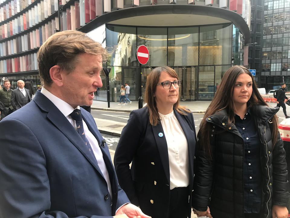 DCI Noel McHugh, Josh Hanson's mother Tracey Hanson and his sister Brooke Hanson outside the Old Bailey following the conviction of Shane O'Brien.