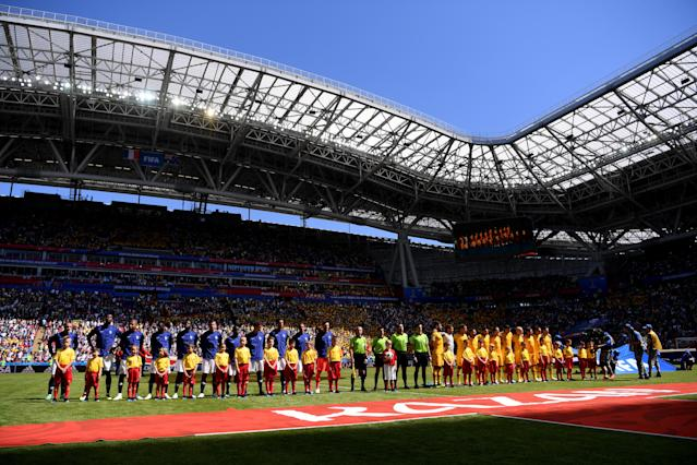 <p>The scene is set in Russia for France and Australia at the Kazan Arena </p>