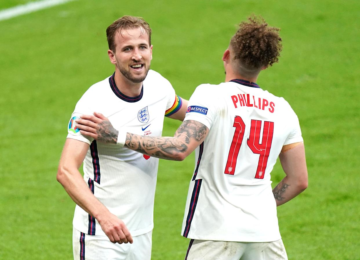 England's Harry Kane (left) celebrates scoring their side's second goal of the game with team-mate Kalvin Phillips during the UEFA Euro 2020 round of 16 match at Wembley Stadium, London. Picture date: Tuesday June 29, 2021.