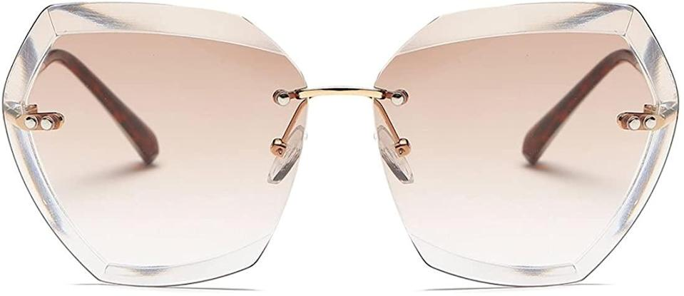 <p>These <span>AEVOGUE Oversized Rimless Geometric Sunglasses in Gold &amp; Brown</span> ($14) will add a retro-vibe to your look!</p>