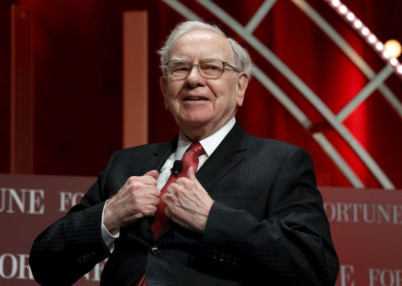 Buffett, chairman and CEO of Berkshire Hathaway, takes his seat to speak at the Fortune's Most Powerful Women's Summit in Washington