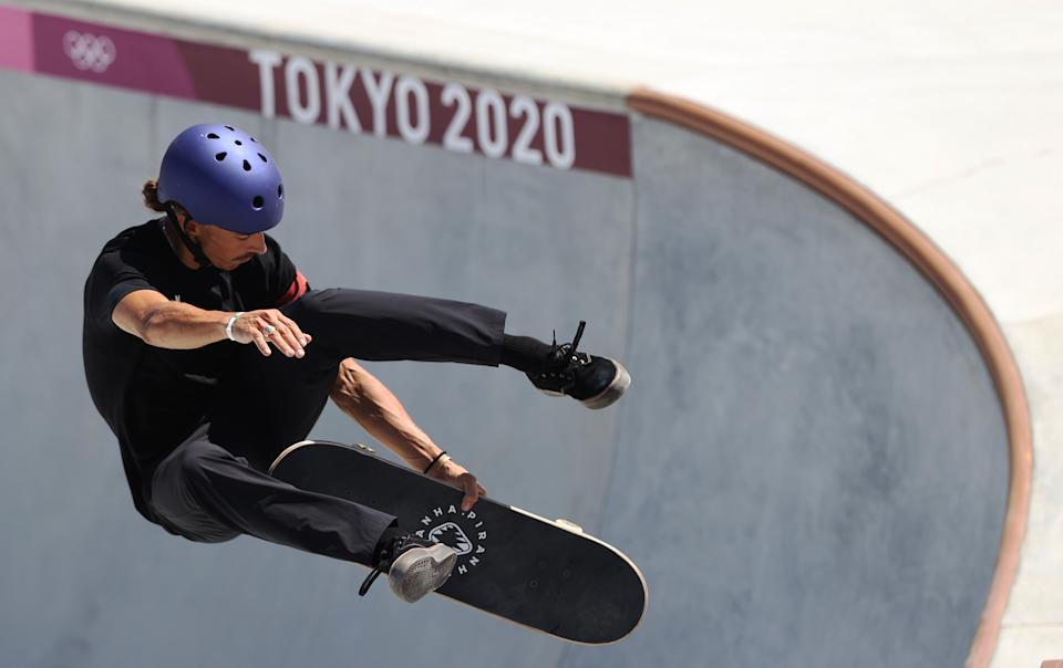 TOKYO, JAPAN - AUGUST 05: Danny Leon of Spain competes during the Men's Skateboarding Park Preliminary Heat 1 on day thirteen of the Tokyo 2020 Olympic Games at Ariake Urban Sports Park on August 05, 2021 in Tokyo, Japan. (Photo by Ian MacNicol/Getty Images)