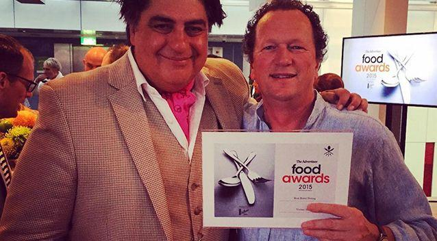 Food critic Matt Preston, left, pictured with Victory Hotel owner Doug Govan, right. Photo: Instagram/Victory Hotel