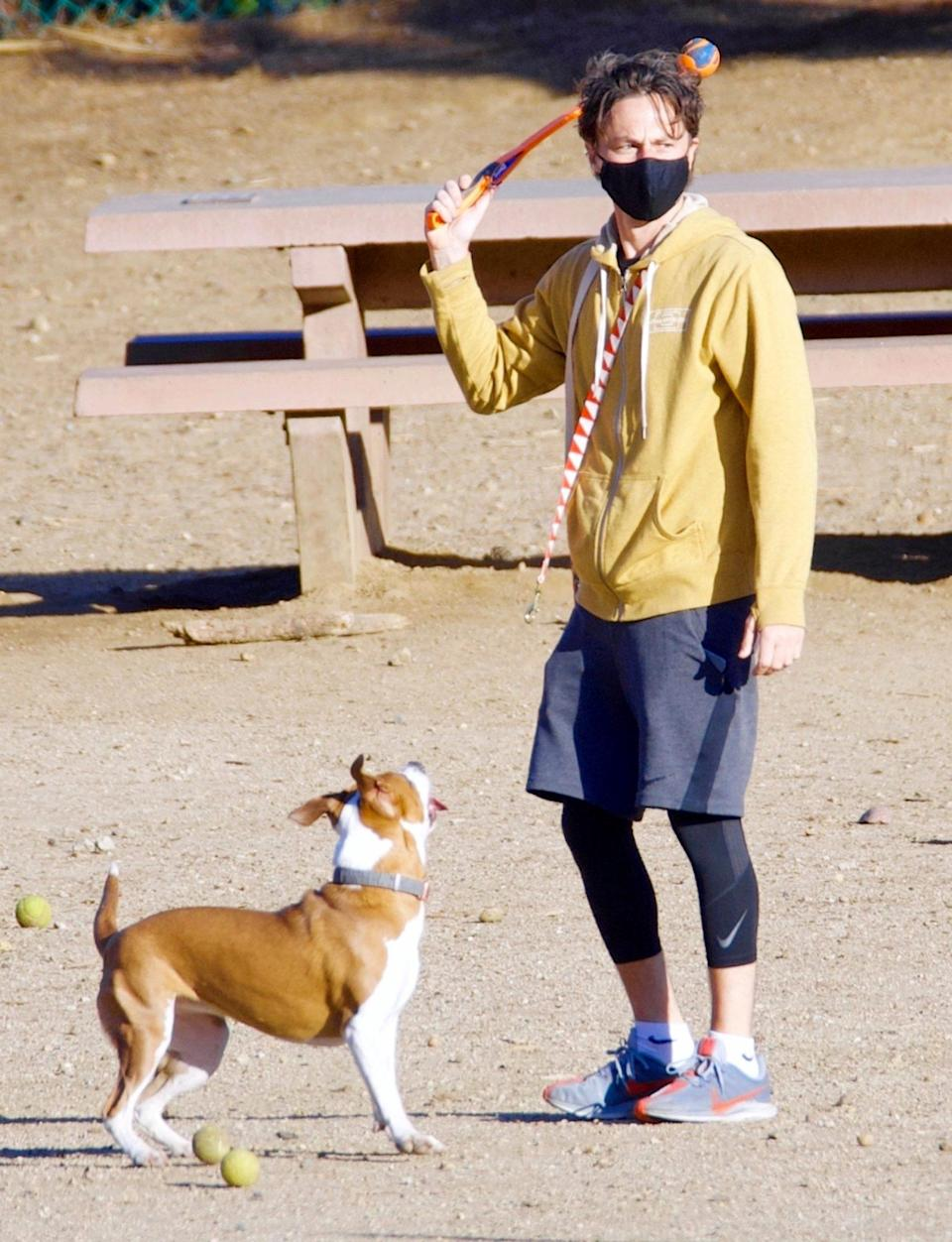 <p>Zach Braff and his pup play some fetch on Sunday during a dog park trip in N.Y.C.</p>