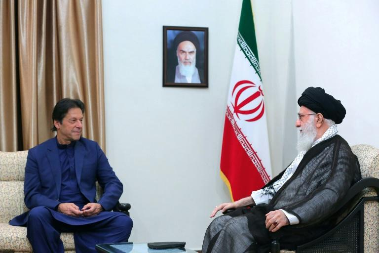 "Iran's supreme leader Ayatollah Ali Khamenei told Pakistani Premier Imran Khan that anyone who starts a war against the Islamic republic will ""undoubtedly regret"" it (AFP Photo/Handout)"