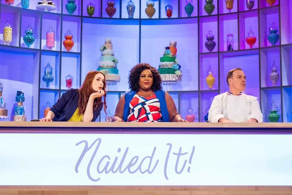 """<p>Hosted by comedian Nicole Byer and chef Jacques Torres, this baking competition show is perfect if you're in need of a laugh. (And let's be real: Who isn't these days?) Watch as amateur bakers try—and spectacularly fail—at making complicated recipes in order to win a cash prize. </p> <p><a href=""""https://www.netflix.com/title/80179138"""" rel=""""nofollow noopener"""" target=""""_blank"""" data-ylk=""""slk:Available to stream on Netflix"""" class=""""link rapid-noclick-resp""""><em>Available to stream on Netflix</em></a></p>"""