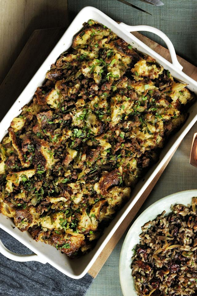 """<p>This sausage-filled stuffing is practically a meal in itself.</p><p><a rel=""""nofollow"""" href=""""http://www.womansday.com/food-recipes/food-drinks/recipes/a60486/sourdough-stuffing-with-sausage-and-herbs-recipe/""""><strong>Get the recipe.</strong></a></p>"""