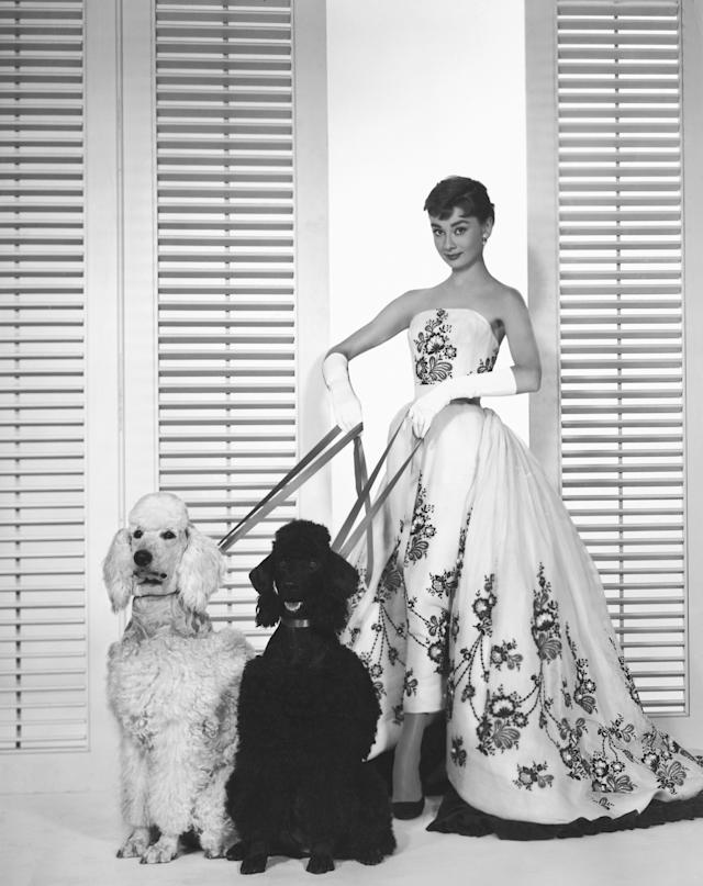 """Actress Audrey Hepburnwearingthe iconic Givenchy gown from the movie """"Sabrina,"""" 1954."""