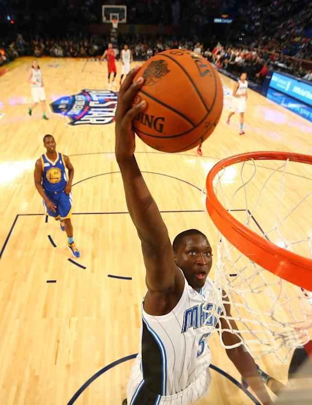 Team Webber's Victor Oladipo of the Orlando Magic heads to the hoop against Team Hill during the Rising Star NBA All Star Challenge Basketball game, Friday, Feb. 14, 2014, in New Orleans. (AP Photo/Christian Petersen)