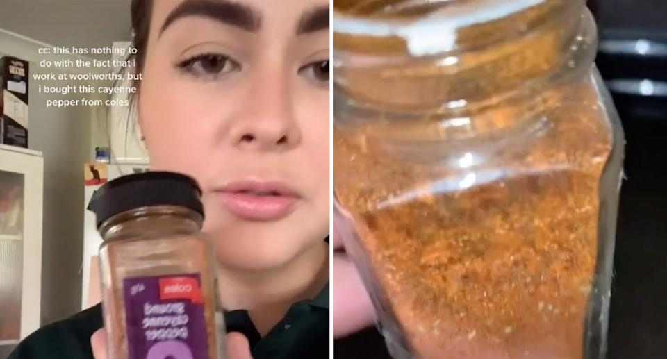 Close-up footage of the container showed dozens of small bugs crawling around inside. Source: TikTok/dumbbish99