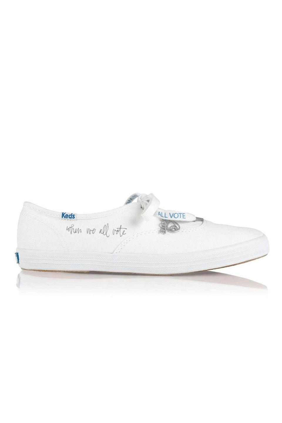 """<p>brothervellies.com</p><p><strong>$95.00</strong></p><p><a href=""""https://brothervellies.com/products/when-we-all-vote-x-brother-vellies-canvassing-sneakers"""" rel=""""nofollow noopener"""" target=""""_blank"""" data-ylk=""""slk:Shop Now"""" class=""""link rapid-noclick-resp"""">Shop Now</a></p><p>Pair your """"Vote"""" socks with these Keds sneakers with special laces. Brother Vellies will be donating 100 percent of the purchase price to the organization When We All Vote. </p>"""
