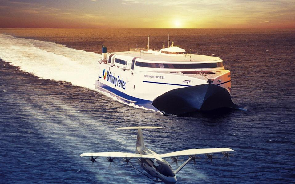 An illustration issued by Brittany Ferries showing the Brittany Ferries ship the Normandie Express alongside a 'seaglider' - Brittany Ferries
