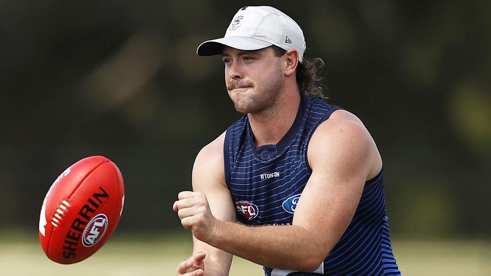 Pictured here, Jack Steven at Geelong practice.