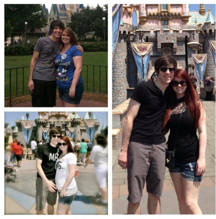 woman at disney world with husband three different times with weight differences