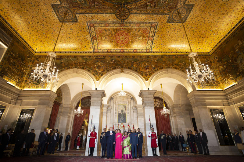 U.S.President Donald Trump and first lady Melania Trump stand with Indian President Ram Nath Kovind and his wife Savita Kovind during the playing of the national anthem at a state banquet at Rashtrapati Bhavan, Tuesday, Feb. 25, 2020, in New Delhi, India. (AP Photo/Alex Brandon, Pool)