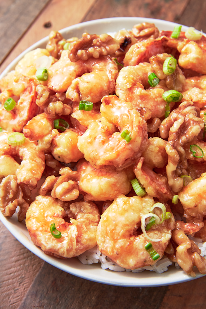 "<p>Just like the Panda Express favorite!</p><p>Get the recipe from <a href=""https://www.delish.com/cooking/recipe-ideas/a25861120/honey-walnut-shrimp-recipe/"" rel=""nofollow noopener"" target=""_blank"" data-ylk=""slk:Delish"" class=""link rapid-noclick-resp"">Delish</a>. </p>"