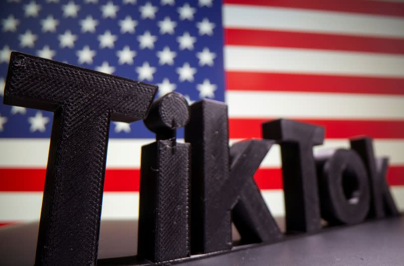 FILE PHOTO: A 3D printed Tik Tok logo is seen in front of U.S. flag in this illustration