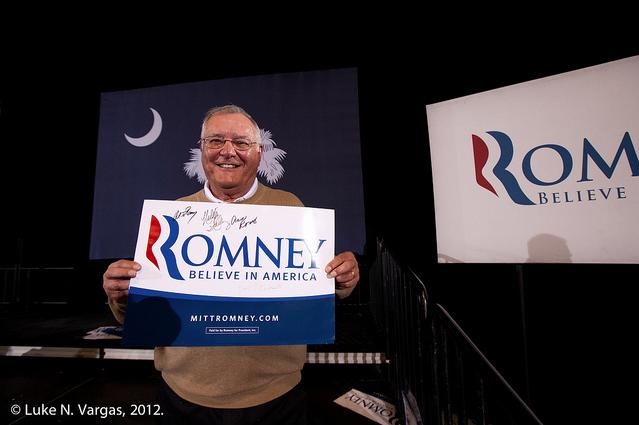 A Romney supporter in North Charleston, South Carolina on Saturday.