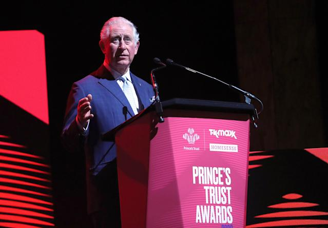 Prince Charles on stage at the awards on Wednesday. (Press Association)