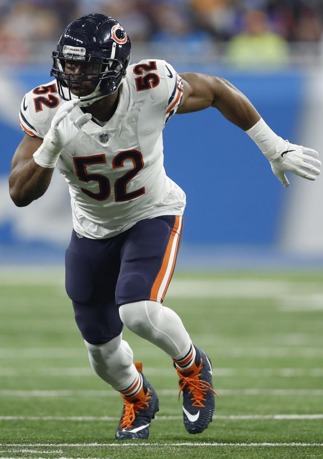 FILE - In this Nov. 22, 2018, file photo, Chicago Bears outside linebacker Khalil Mack (52) rushes in against the Detroit Lions during an NFL football game in Detroit. The NFC West champion Rams look to clinch a first-round playoff bye when they visit the NFC North-leading Chicago Bears on Sunday in a primetime matchup between teams following similar paths.(AP Photo/Jeff Haynes, File)