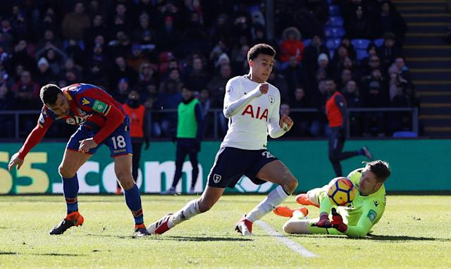 "Soccer Football - Premier League - Crystal Palace vs Tottenham Hotspur - Selhurst Park, London, Britain - February 25, 2018 Tottenham's Dele Alli in action with Crystal Palace's Wayne Hennessey and James McArthur Action Images via Reuters/Paul Childs EDITORIAL USE ONLY. No use with unauthorized audio, video, data, fixture lists, club/league logos or ""live"" services. Online in-match use limited to 75 images, no video emulation. No use in betting, games or single club/league/player publications. Please contact your account representative for further details."