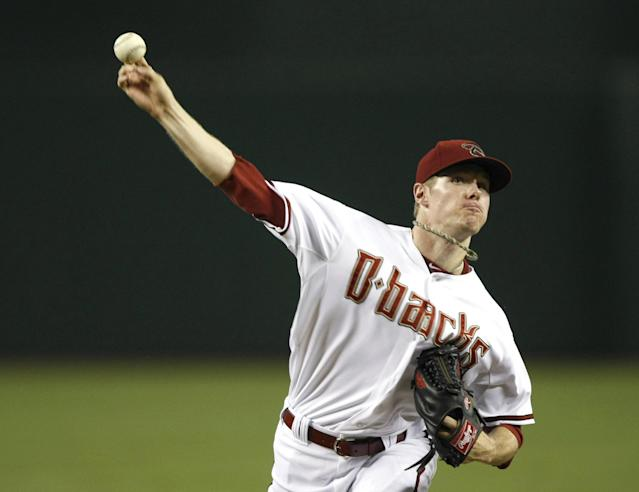 Arizona Diamondbacks starting pitcher Chase Anderson throws in the first inning during a baseball game against the Colorado Rockies, Friday, Aug. 8, 2014, in Phoenix. (AP Photo/Rick Scuteri)