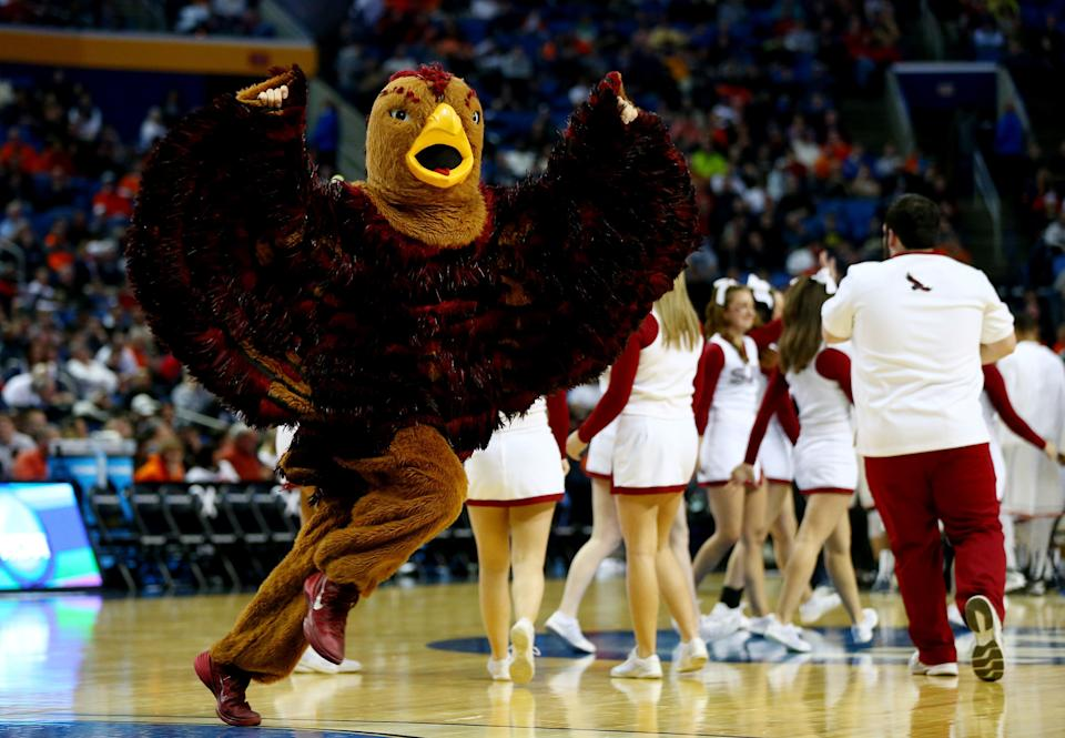 BUFFALO, NY - MARCH 20: The Saint Joseph's Hawks mascot perofrms during the second round of the 2014 NCAA Men's Basketball Tournament against the Connecticut Huskies at the First Niagara Center on March 20, 2014 in Buffalo, New York.  (Photo by Elsa/Getty Images)