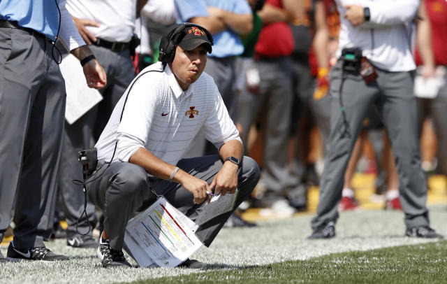Iowa State head coach Matt Campbell watches from the sideline during the second half of an NCAA college football game against Iowa, Saturday, Sept. 9, 2017, in Ames, Iowa. Iowa won 44-41 in overtime. (AP Photo/Charlie Neibergall)