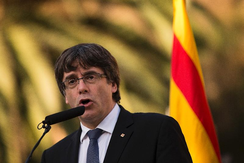 Catalan regional leader Carles Puigdemont will be stripped of his jobe under measures announced Saturday by Spanish Prime Minister Mariano Rajoy (AFP Photo/PAU BARRENA)