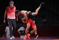<p>Parviz Nasibov of Team Ukraine competes against Fredrik Holmquist Bjerrehuus of Team Denmark during the Men's Greco-Roman 67kg 1/8 Final on day eleven of the Tokyo 2020 Olympic Games at Makuhari Messe Hall on August 03, 2021 in Chiba, Japan. (Photo by Tom Pennington/Getty Images)</p>