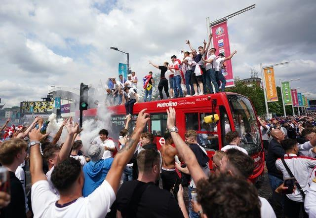 England fans on top of a bus before the big match
