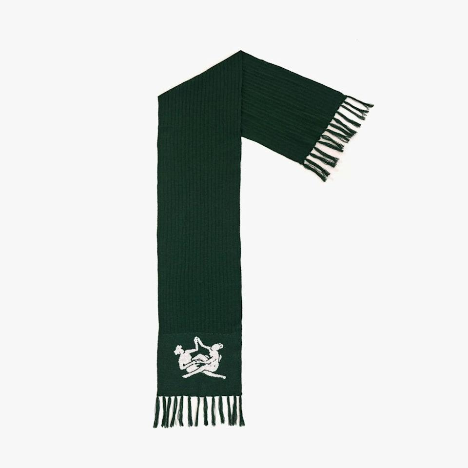 "$235, THEBE MAGUGU. <a href=""https://www.thebemagugu.com/products/sisterhood-knitted-scarf-emmarentia-green"" rel=""nofollow noopener"" target=""_blank"" data-ylk=""slk:Get it now!"" class=""link rapid-noclick-resp"">Get it now!</a>"