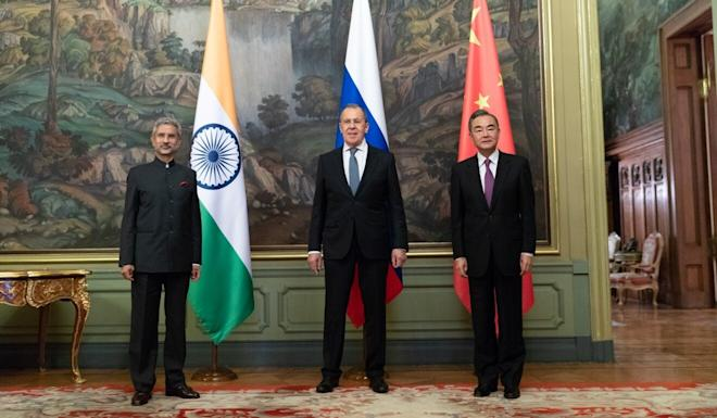 (From left) Indian, Russian and Chinese foreign ministers Subrahmanyam Jaishankar, Sergei Lavrov and Wang Yi meet in Moscow on Thursday. Photo: Xinhua