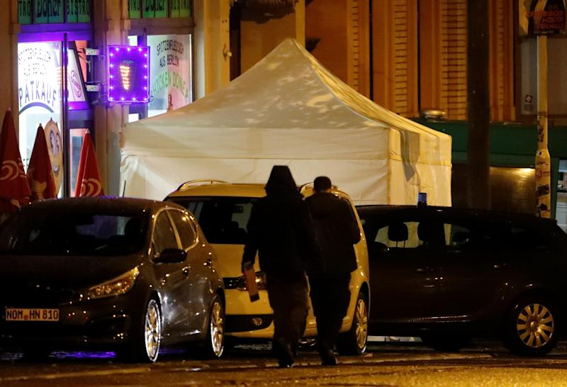 A forensic tent is seen outside a kebab restaurant at the site of the shooting: REUTERS