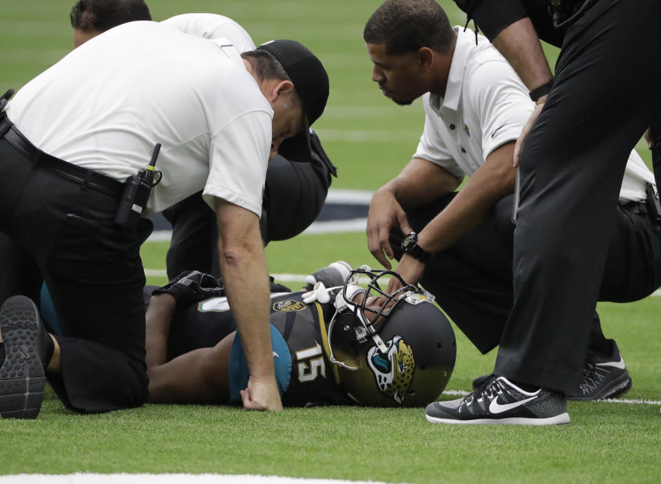 Allen Robinson left Jacksonville's game early with an injured knee. (AP)