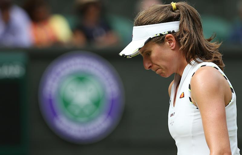 LONDON, ENGLAND - JULY 09: Johanna Konta (GBR) during her match against Barbora Strycova (CZE) in their Ladies' Singles Quarter-Finals match during Day 8 of The Championships - Wimbledon 2019 at All England Lawn Tennis and Croquet Club on July 9, 2019 in London, England. (Photo by Rob Newell - CameraSport via Getty Images)
