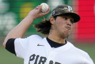 Pittsburgh Pirates starting pitcher Miguel Yajure delivers during the first inning of the team's baseball game against the San Francisco Giants in Pittsburgh, Friday, May 14, 2021. (AP Photo/Gene J. Puskar)