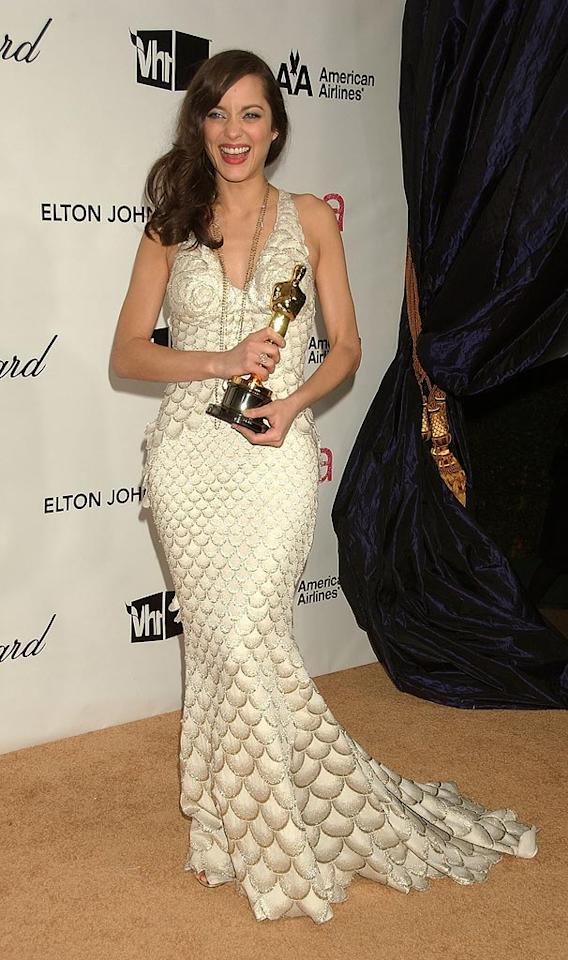 "<a href=""http://movies.yahoo.com/movie/contributor/1800277301"">Marion Cotillard</a> attend the 16th Annual Elton John AIDS Foundation Oscar Party at the Pacific Design Center in West Hollywood - 02/24/2008"