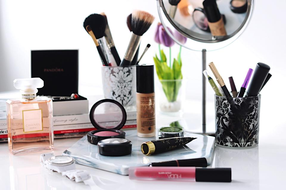Close-Up Of Make-Up Products On Table