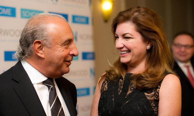 Sir Philip Green with Karren Brady at a charity dinner in London