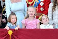 <p>Charlotte, Savannah, and George making faces at the 2018 Trooping the Colour at Buckingham Palace is an entire MOOD.</p>