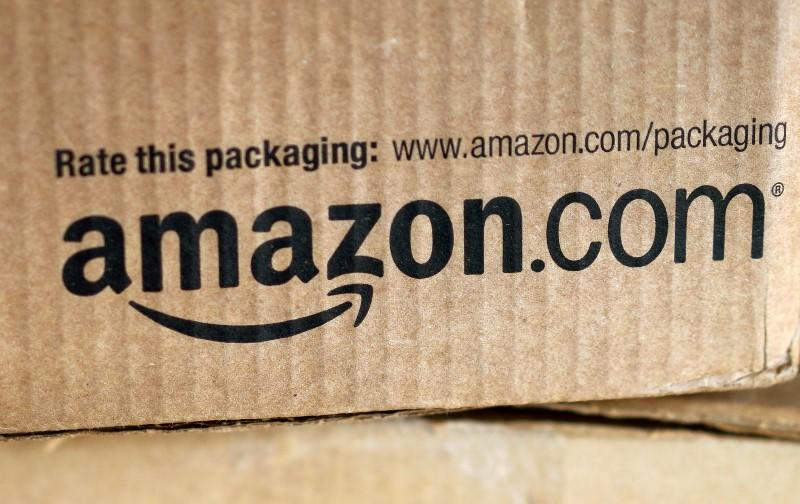 A just-delivered Amazon box is seen on a counter in Golden, Colorado