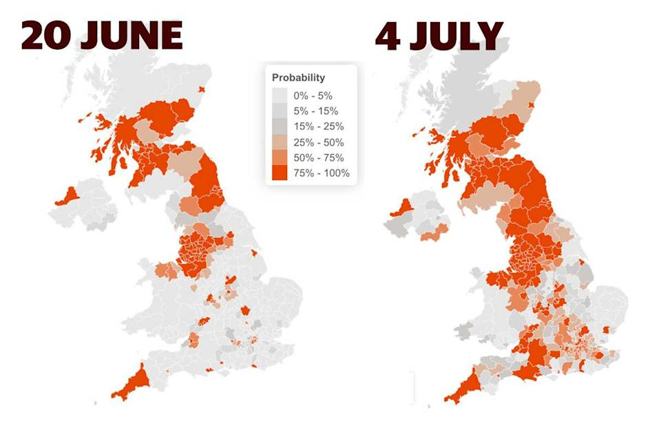 COVID hotspots across the  UK are set to increase, according to recent research.