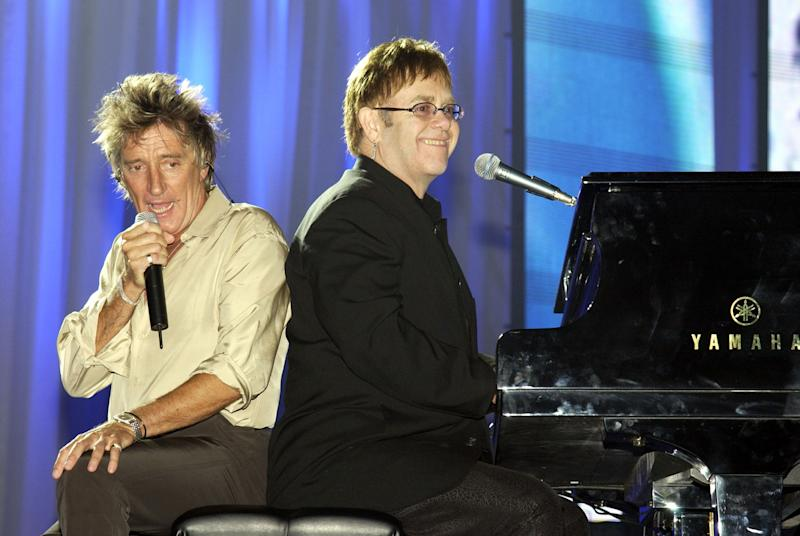 """Rod Stewart and Sir Elton John during The Andre Agassi Charitable Foundation's 7th """"Grand Slam for Children"""" Fundraiser - Rehearsal at The MGM Grand Hotel and Casino in Las Vegas, Nevada, United States. (Photo by KMazur/WireImage)"""
