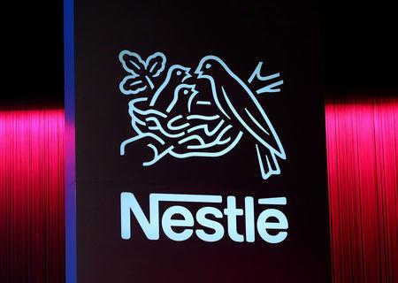 Logo is pictured during the 152nd Annual General Meeting of Nestle in Lausanne