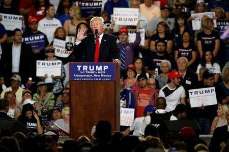 Republican U.S. presidential candidate Donald Trump holds a rally with supporters in Albuquerque