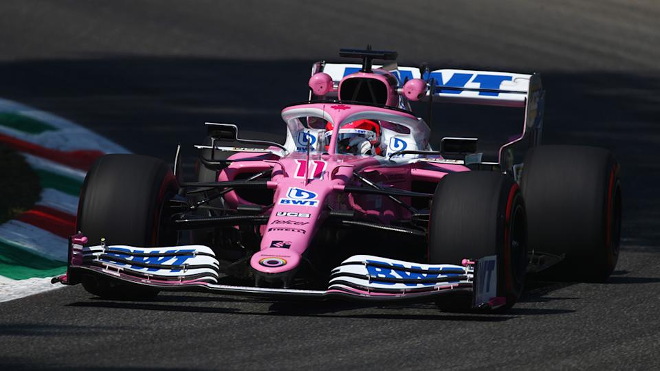 Sergio Perez is pictured driving in a practice session for the 2020 Italian Grand Prix.