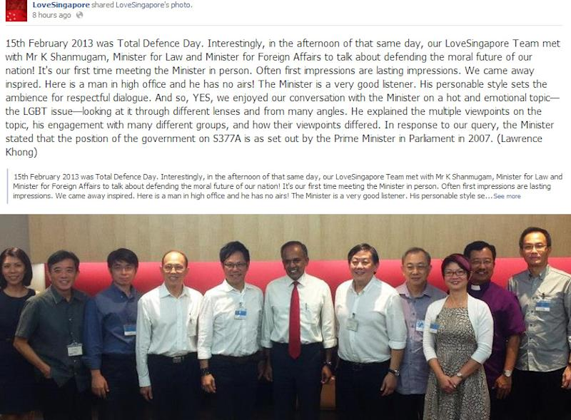 LoveSingapore leaders meet Law Minister K Shanmugam